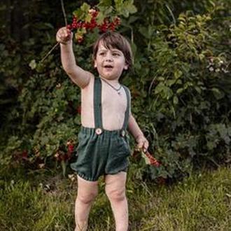 Детские шорты (Блумер) на подтяжках. 100% сертифицированный лен. для девушек и для мальчиков