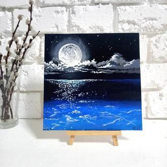 """Картина акрилом 20х20 см Живопис """"Місячна ніч на морі"""""""