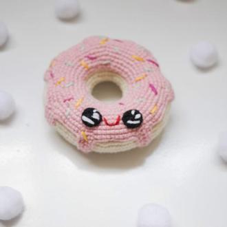 Розовый вязаный пончик , мягкая игрушка амигуруми ,вязаная еда крючком