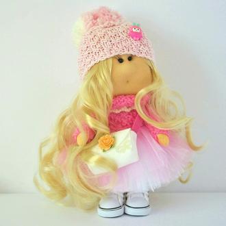 Кукла текстильная Тильда Интерьерная куколка в розовом