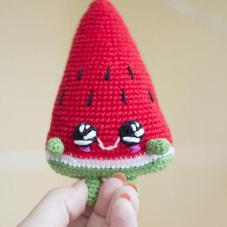 Долька красного арбуза , вязаная мягкая игрушка крючком, амигуруми еда