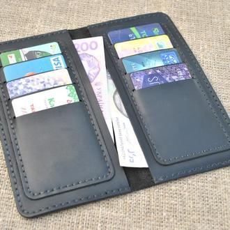 Черный кошелек на восемь карт из натуральной кожи K47-0