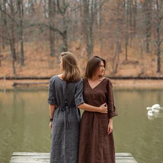 Сукня-трансформер з льону міді, сукня широка, оверсайз сукня, вільна сукня, сукня великий розмір