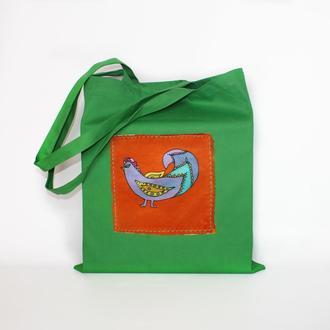 Зеленая эко сумка с птичкой, хлопковый шопер с ручной росписью на шелке, пляжная  tote bag