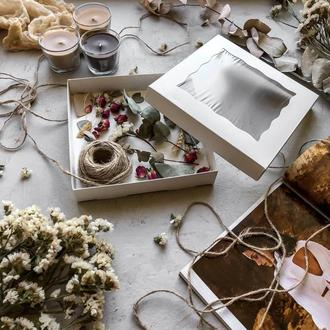 Коробка для текстиля белая 20х20х3,5 см