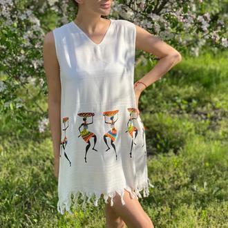 Летнее платье XS-S, туника для пляжа, накидка на купальник, сарафан женский летний