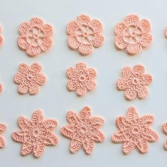 Набор из 15 вязаных цветов  из хлопковой пряжи, для декора, персикового цвета