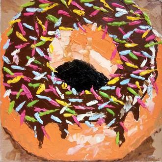 Миниатюрная живопись Сладость Пончик Картина еды Авторские картины маслом