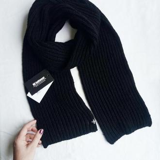 Шарф Classic, черный классический шарф, шарф английской резинкой, шарф унисекс.