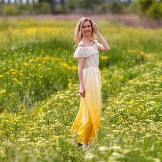 Желтое шифоновое летнее платье в пол