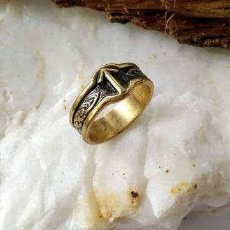 Кольцо с руной Тюр кельтские узлы из бронзы