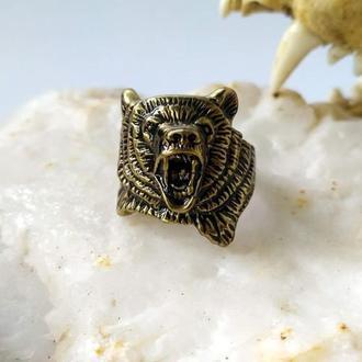 Перстень Медведь плоский из бронзы