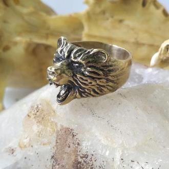 Перстень Медведь обьёмный из бронзы