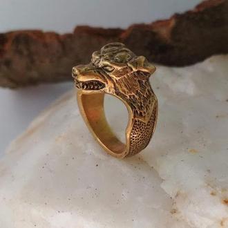Перстень Собака с оскалом обьёмный из бронзы
