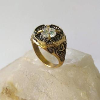 Кольцо Кельтские узлы Игдрасиль из бронзы с Фионитом