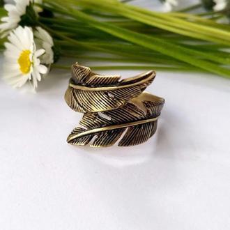 Кольцо Пёрышки из бронзы