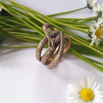 Колечко  Змея из бронзы с чернением