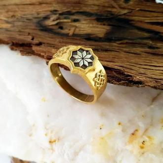Кольцо Алатырь + Звезда Лады из бронзы с серебряной накладкой