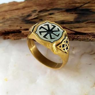 Кольцо-оберег Колядник из бронзы с серебряной накладкой