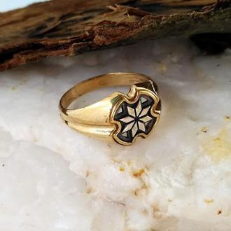 Кольцо Алатырь из бронзы с серебряной накладкой