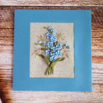 Вышитая открытка с голубыми незабудками, Открытка с коробкой