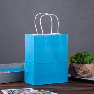 Крафт пакет голубий 180*100*220 мм, папір 100 г/м2