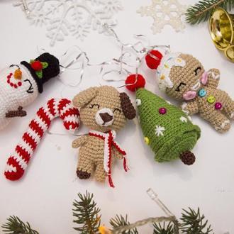 Новогодние игрушки вязаные крючком, игрушки на елку, снеговик, конфета, собака, елка, пряник
