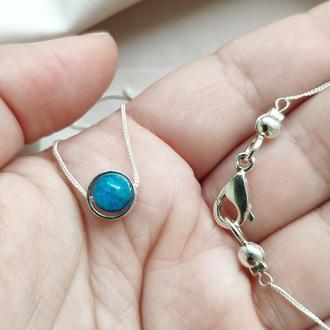 Мінімалістична срібна підвіска з натуральним апатитом, Ніжне кольє з синім каменем на шию