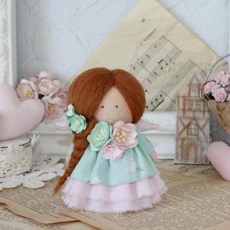 Текстильная кукла. Ангелок с рыжими волосами