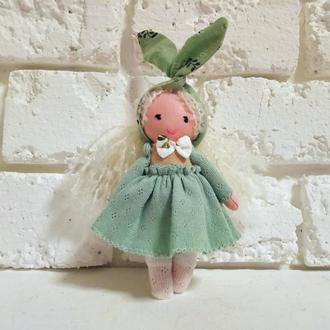 Маленькая куколка Тильда Текстильная кукла в оливковом