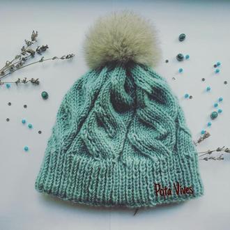 Тёплая уютная двойная бесшовная шапка