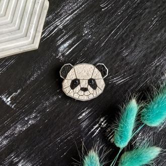 Геометрическая брошь Панда. Оригинальная полигональная брошь Панда. Милое украшение Мишка на подарок
