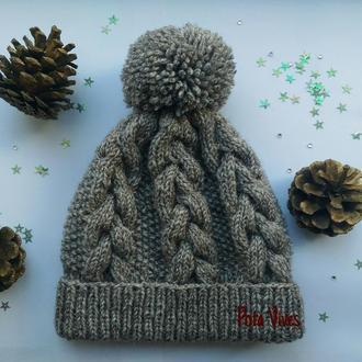 Зимняя вязаная бесшовная шапка