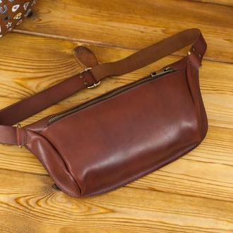 """Мужская кожаная сумка """"модель №56 мини"""" кожа итальянский краст, цвет вишня"""