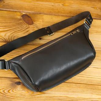 """Мужская кожаная сумка """"модель №56 мини"""" кожа итальянский краст, цвет кофе"""