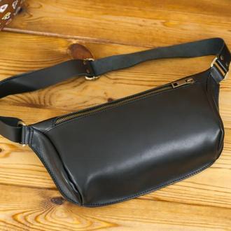 """Мужская кожаная сумка """"модель №56 мини"""" кожа итальянский краст, цвет черный"""