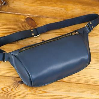 """Чоловіча шкіряна сумка """"модель №56 міні"""" шкіра італійський краст, колір синій"""