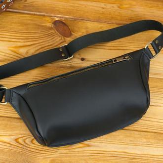 """Мужская кожаная сумка """"модель №56 мини"""", кожа Grand, цвет черный"""