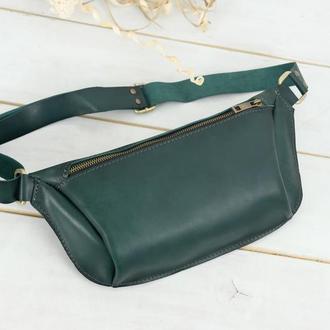 """Женская кожаная сумка """"модель №56 мини"""" кожа итальянский краст, цвет зеленый"""