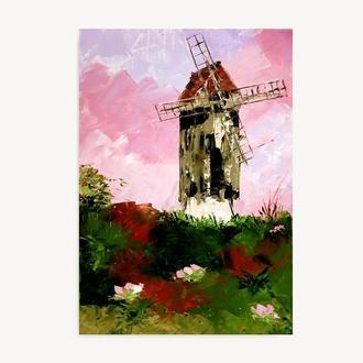 Ветряная Мельница Современная абстрактная живопись маслом