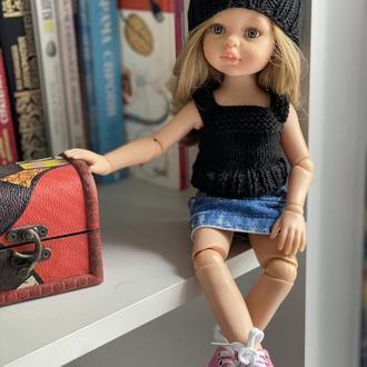 Вязаный комплект шапочка и майка для Паолы Рейна, Одежда для куклы Paola Reina 32 см