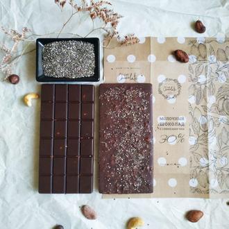 Шоколад молочный с семенами чиа (без сахара), 100, 200, 300 грамм