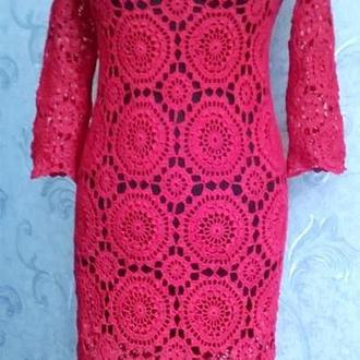 Ажурное вязанное платье