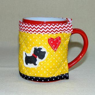 Грелка для чашки Желтая собачки