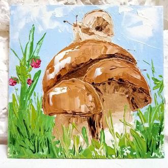 Картинка Улитка на грибах маслом Авторская живопись