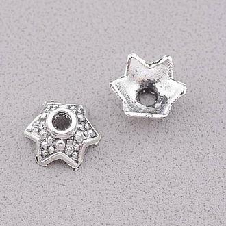 Шапочки для бусин 10x10x4мм цвет античное серебро 1 уп - 20 шт \ Sf - 094643