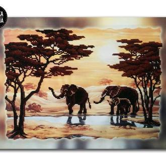 Картина вышитая бисером на подрамнике Закат в пустыне от Пушка Наталья