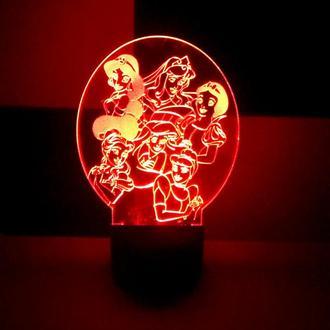 Принцессы Дисней, ночник, светильник, LED лампа, жасмин, золушка, ариэль, аврора, бель, белоснежка