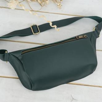 """Женская кожаная сумка """"модель №56 мини"""", кожа Grand, цвет зеленый"""
