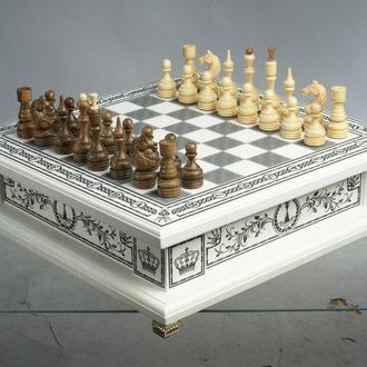 Шахматы, шашки, нарды сувенирные бокс белый 3 в 1